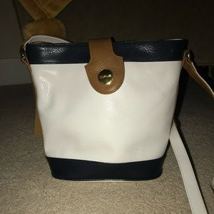 CLAUS Blue, White and Brown Long Strap Purse